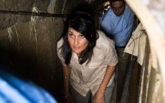 US Ambassador to the UN Nikki Haley tours a Hamas-dug tunnel near Kibbutz Ein Hashlosha, June 8, 2017 with Israels envoy to the UN, Danny Danon, walking behind her. (IDF)