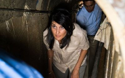 US Ambassador to the UN Nikki Haley tours a Hamas-dug tunnel near Kibbutz Ein Hashlosha, June 8, 2017 with Israels envoy to the UN, Danny Danon, walking behind her. (IDF)