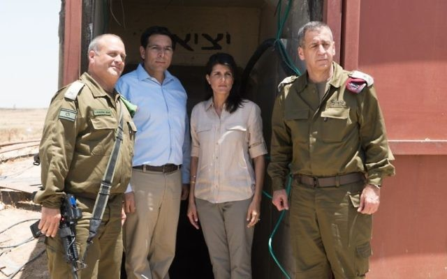 US Ambassador to the UN Nikki Haley with Israel's envoy to the UN, Danny Danon (to her left), and IDF Deputy Chief of Staff, Maj. Gen. Aviv Kochavi, (far right), June 8, 2017. (IDF)