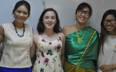 13-year-old Shira Futornick, center, with some of the AICAT graduates on Thursday, June 15, 2017. (Courtesy Arava)