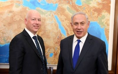 Prime Minister Benjamin Netanyahu, right, meets with US peace envoy Jason Greenblatt in Jerusalem, June 20, 2017. (Courtesy/Matty Stern/US Embassy Tel Aviv)