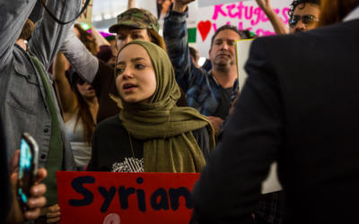Dalya protesting the Muslim travel ban at LAX in January 2017. (Dustin Pearlman/'Dalya's Other Country')