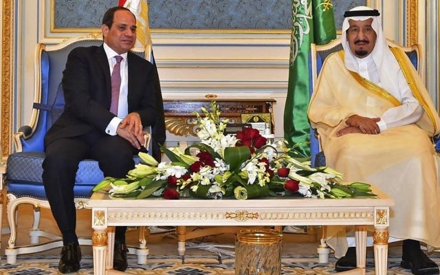 Egyptian President Abdel-Fattah el-Sissi, left, meets with Saudi King Salman in Riyadh, Saudi Arabia, April 23, 2017. (MENA via AP)
