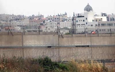 A view of Qalqilya from the Israeli side of the security barrier (Yossi Zamir/Flash90)