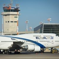 El Al flight seen at the airstrip at the Ben Gurion International Airport. February 26, 2015. (Moshe Shai/FLASH90)