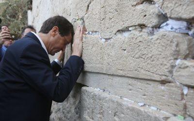 Isaac Herzog praying at the Western Wall in Jerusalem on October 8, 2015. (Yonatan Sindel/Flash90)