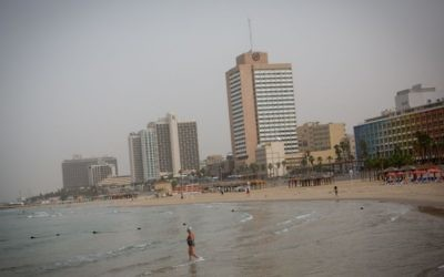 A view of the hotels on the Tel Aviv coast, November 4, 2015. (Miriam Alster/Flash90)