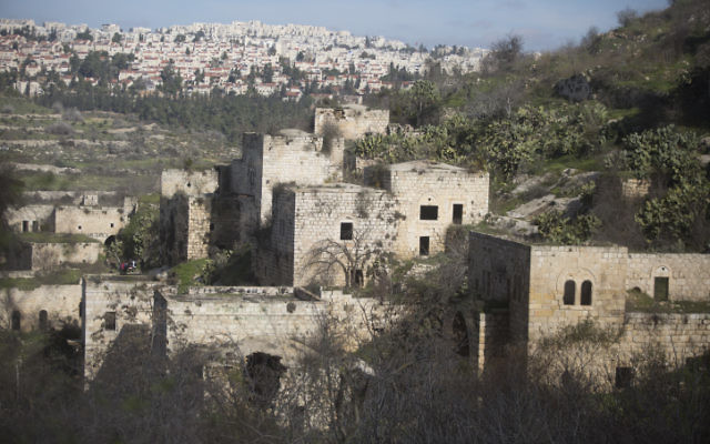 View of empty houses at the Arab village of Lifta, on January 10, 2016. (Lior Mizrahi/Flash90)
