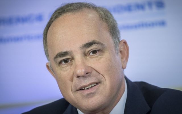 Energy Minister Yuval Steinitz attends the Conference of Presidents of Major American Jewish Organizations, in Jerusalem, on February 20, 2017. (Yonatan Sindel/Flash90)