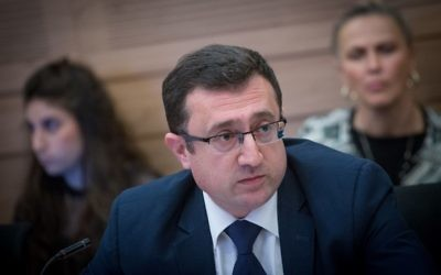 Yisrael Beytenu MK Robert Ilatov attends committee meeting in the Knesset, March 15, 2017. (Miriam Alster/FLASH90)