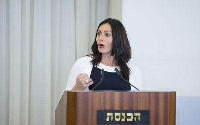 Culture and Sports Minister Miri Regev speaks during a ceremony at the Knesset, April 26, 2017. (Yonatan Sindel/Flash90)