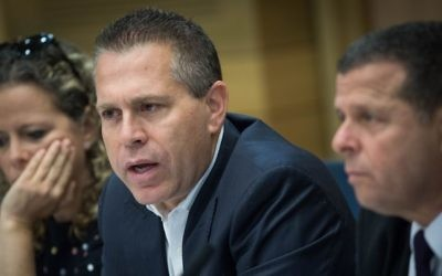 Public Security Minister Gilad Erdan attends a meeting at the Knesset, Jerusalem, May 17, 2017.  (Yonatan Sindel/Flash90)