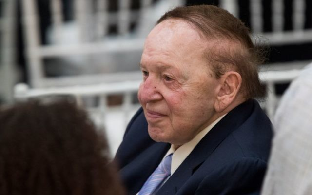 Sheldon Adelson attends the final remarks of US President Donald Trump and Israeli Prime Minister Benjamin Netanyahu at the Israel Museum in Jerusalem before Trump's departure, on May 23, 2017. (Yonatan Sindel/Flash90)