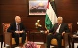 US President Donald Trump's envoy to the Middle East Jason Greenblatt meets with Palestinian leader Mahmoud Abbas in the West Bank city of Ramallah, May 25, 2017. (FLASH90)