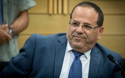 Minister Ayoub Kara attends a Likud party meeting at the Knesset, in Jerusalem, May 29, 2017. (Yonatan Sindel/Flash90)
