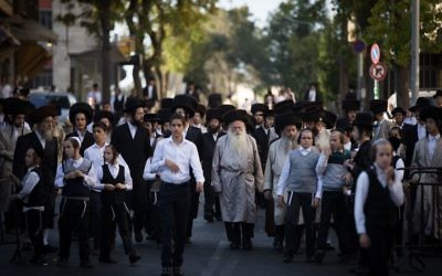 Illustrative image of Ultra Orthodox Jews protesting outside the Meah Shearim ultra orthodox neighborhood on June 3, 2017. (Yonatan Sindel/Flash90)