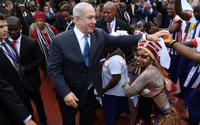 Prime Minister Benjamin Netanyahu is seen at the airport in Liberia's capital Monrovia after arriving for an official state visit on June 4, 2017. (Kobi Gideon/GPO/Flash90)