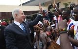 Prime Minister Benjamin Netanyahu, at a welcoming ceremony in his honor, as he arrives in Monrovia, Liberia for an official state visit, on June 4, 2017. (Kobi Gideon/GPO)