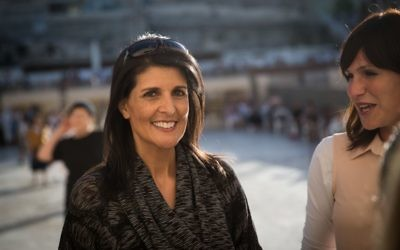 United States Ambassador to the UN, Nikki Haley, visits the Western Wall in Jerusalem's Old City, during her visit to Israel, on June 7, 2017. (Hadas Parush/ Flash90)