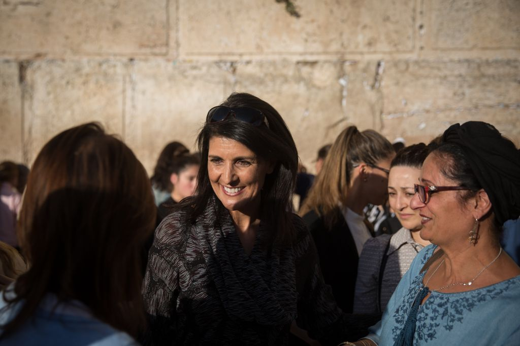 United States Ambassador to the UN, Nikki Haley, visits the Western Wall in Jerusalem's Old City, during her visit to Israel, on June 7, 2017. (Hadas Parush/Flash90)