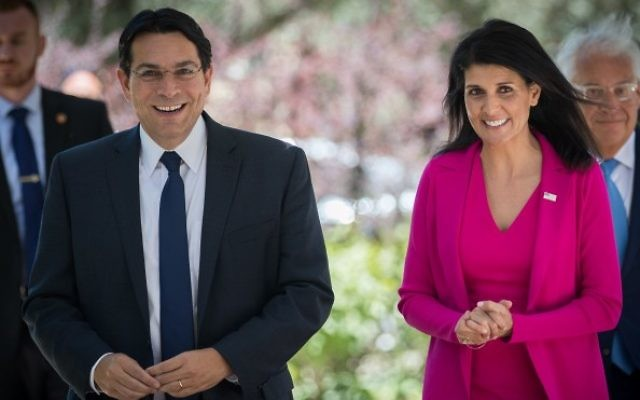 United States Ambassador to the United Nations Nikki Haley walks with Israeli Ambassador to the UN, Danny Danon as they arrive for a meeting with President Reuven Rivlin at the President's Residence in Jerusalem, June 7, 2017. Yonatan Sindel/Flash90)