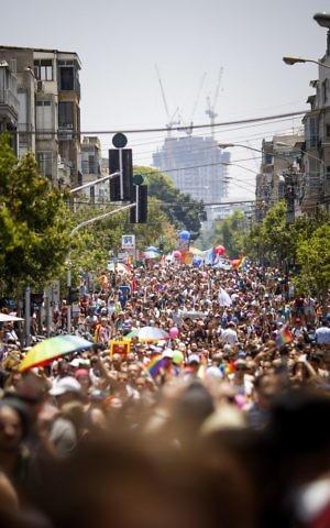 Israelis take part the annual Gay Pride Parade in Tel Aviv, on Friday, June 9, 2017 (Hadas Parush/Flash90)