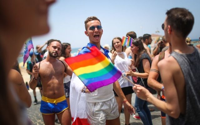 Israelis take part the annual Gay Pride Parade in Tel Aviv, on Friday, June 9, 2017 (Hadas Parush/Flash90)