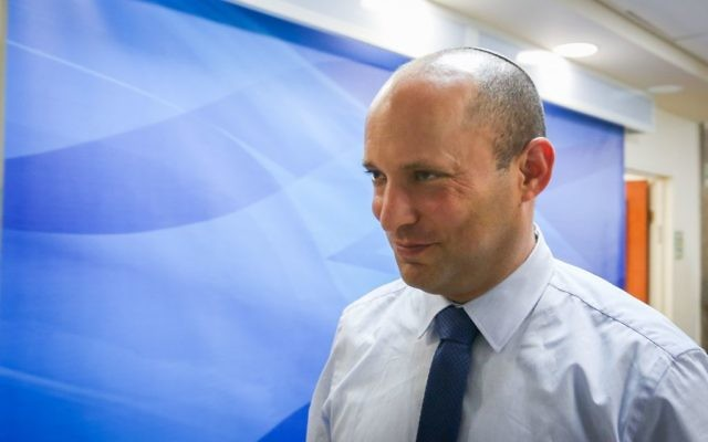 Education Minister Naftali Bennett arrives for the weekly cabinet meeting at the Prime Minister office in Jerusalem, June 11, 2017. (Marc Israel Sellem/POOL)