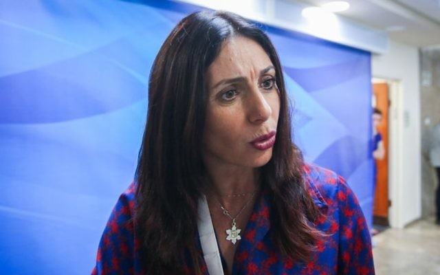 Culture Minister Miri Regev arrives at the weekly cabinet meeting at the Prime Minister's Office in Jerusalem on June 11, 2017. (Marc Israel Sellem/Flash90)