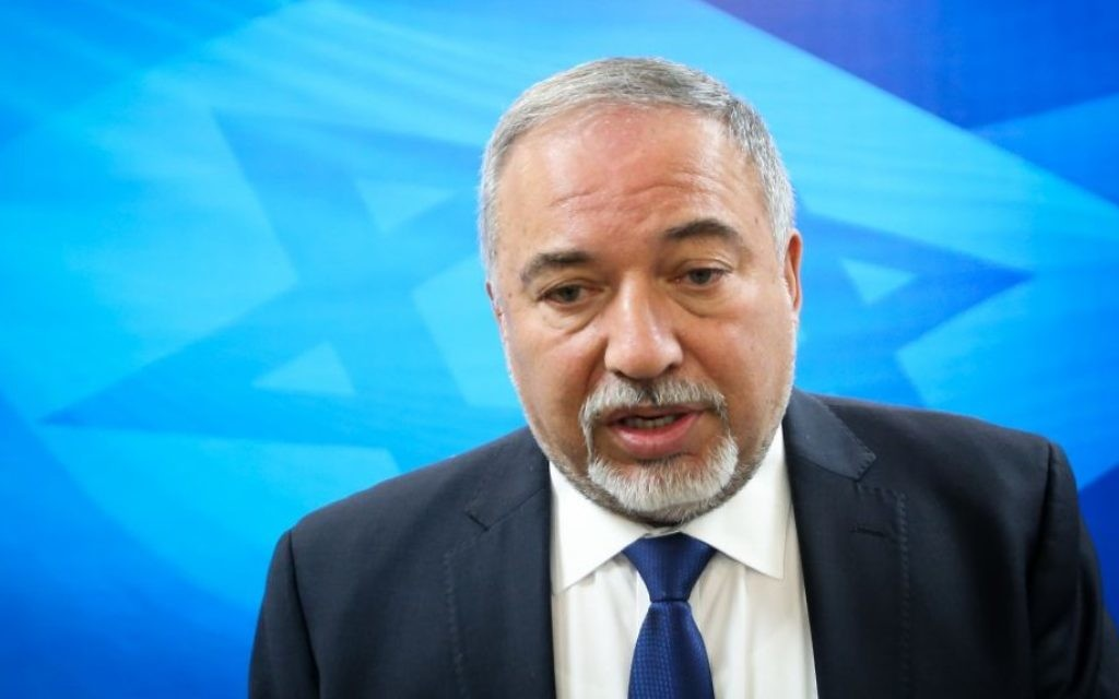 Defense Minister Avigdor Liberman arrives to the weekly cabinet meeting at the Prime Minister's Office in Jerusalem on June 11, 2017. (Marc Israel Sellem/Flash90)