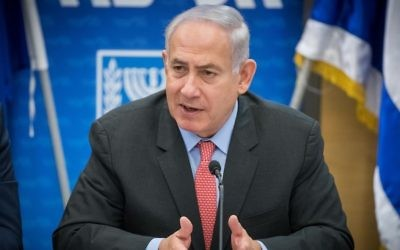 Prime Minister Benjamin Netanyahu leads a Likud faction meeting at the Knesset, in Jerusalem, June 12, 2017. (Yonatan Sindel/Flash90)