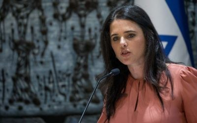 Justice Minister Ayelet Shaked speaks during a swearing in ceremony for newly appointed judges for the Supreme Court at the President's residence in Jerusalem, on June 13, 2017. (Sindel/Flash90)