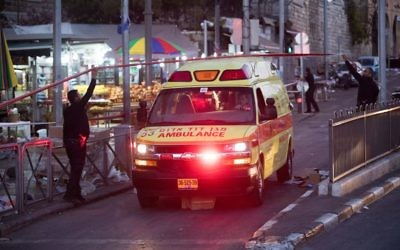 An ambulance leaving the scene of a terror attack near Damascus Gate in Jerusalem on June 16, 2017. (Yonatan Sindel/Flash90)