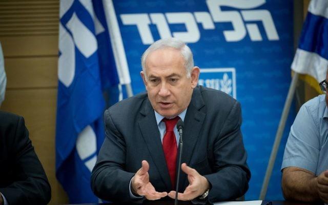 Prime Minister Benjamin Netanyahu leads a Likud party meeting at the Knesset, in Jerusalem, June 19, 2017. (Yonatan Sindel/Flash90)