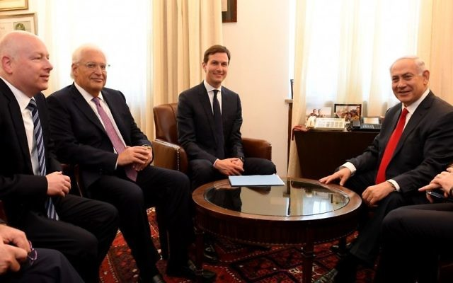 US Ambassador to Israel David Friedman (second left) and US President Donald Trump's special envoys Jason Greenblatt (left) and Jared Kushner (center) meet with Prime Minister Benjamin Netanyahu at the PMO in Jerusalem, June 21, 2017. (Matty Stern/US Embassy Tel Aviv)