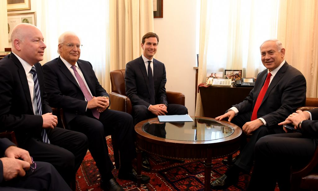 US President Donald J. Trump's special envoys Jared Kushner and Jason Greenblatt meet with Israeli Prime Minister Benjamin Netanyahu at the Prime Minister's Office in Jerusalem, June 21, 2017. (Matty Stern/US Embassy Tel Aviv)