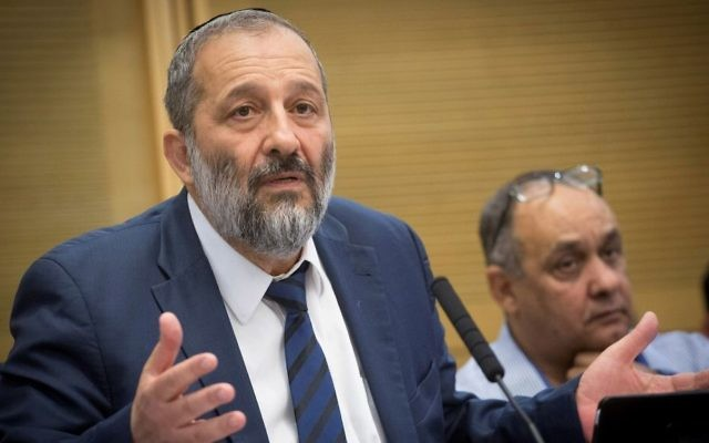 Interior Minister Aryeh Deri attends a committee meeting in the knesset on June 21, 2017. (Miriam Alster/Flash90)