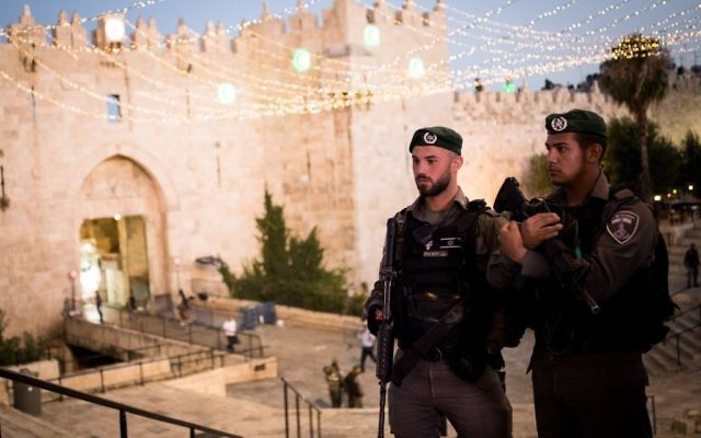 Israeli security forces standing guard outside Damascus Gate, in Jerusalem's Old City on June 22, 2017. (Yonatan Sindel/Flash90)