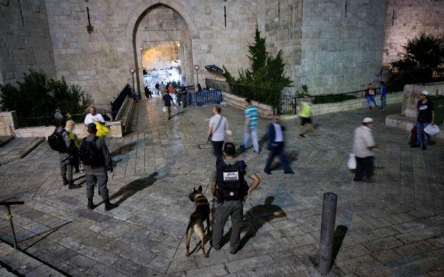 Israeli security forces standing guard outside Damascus Gate, in Jerusalem's Old City on June 22, 2017. (Yonatan Sindel/Flash90)