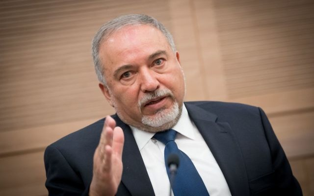 Defense Minister Avigdor Liberman at a meeting of the Foreign Affairs and Defense Committee in the Knesset, on June 26, 2017. (Yonatan Sindel/Flash90)