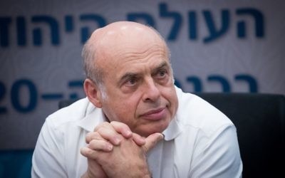 Jewish Agency chairman Natan Sharansky attends a meeting in the Knesset of the lobby for strengthening ties with the Jewish world, June 27, 2017. (Yonatan Sindel/Flash90)