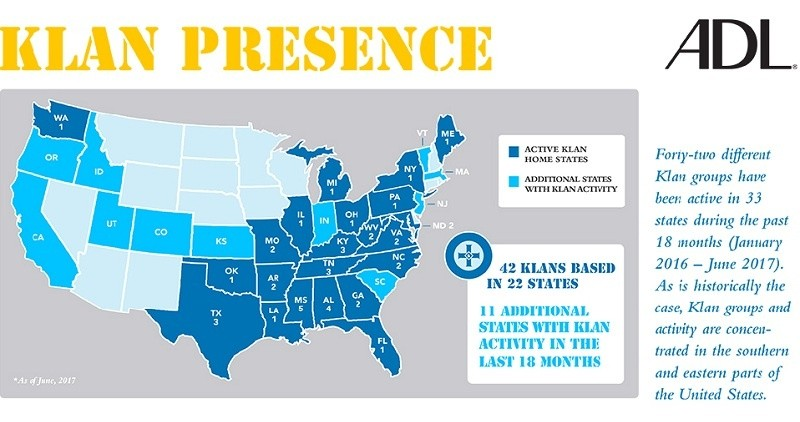 Ku Klux Klan Opening New Groups Still A Threat In America ADL - Kkk map in the us