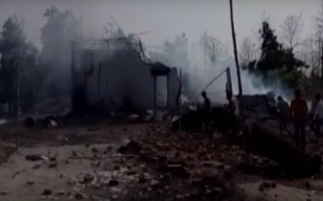 Screen capture from video showing the aftermath of a deadly explosion at an Indian firecracker factory in Balaghat district of Madhya Pradesh state, June 8, 2017. (YouTube/The Times of India)