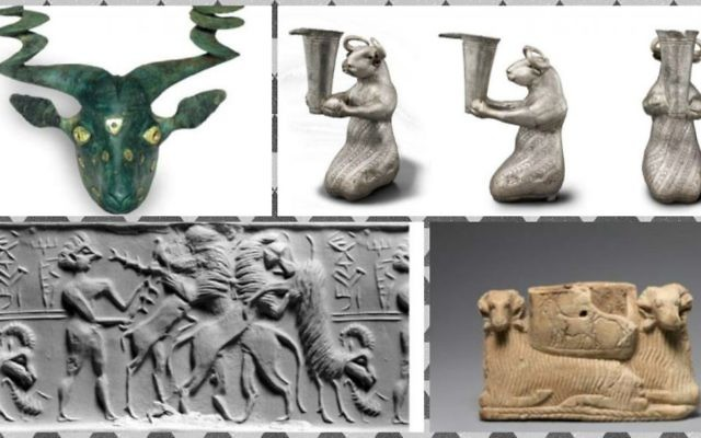 Artifacts on display at the Morgan Library and Museum in New York in the 'Noah's Beasts: Sculpted Animals from Ancient Mesopotamia' exhibit. (Courtesy)