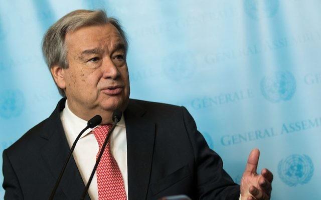 UN Secretary-General Antonio Guterres speaking to reporters at the U.N. headquarters in New York, Dec. 12, 2016. (Drew Angerer/Getty Images via JTA)