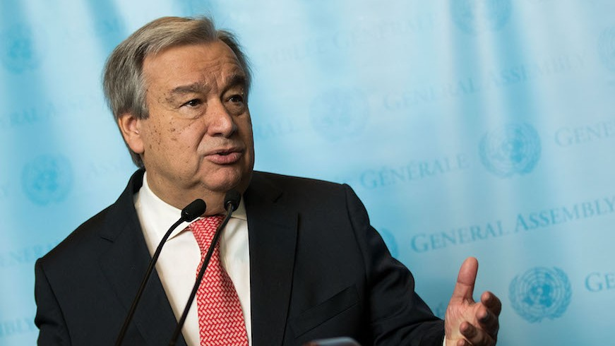 UN Secretary-General Antonio Guterres speaking to reporters at the UN headquarters in New York, Dec. 12, 2016. (Drew Angerer/Getty Images via JTA)