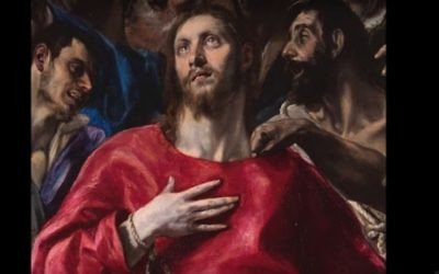 Screen capture from video showing a detail from The Disrobing of Christ or El Expolio, by artist  El Greco, an example of some of the Nazi-looted artworks of art sought by heirs of Baron Mór Lipót Herzog. (screen capture: YouTube/Andrea Greco y Fernando Álvarez)