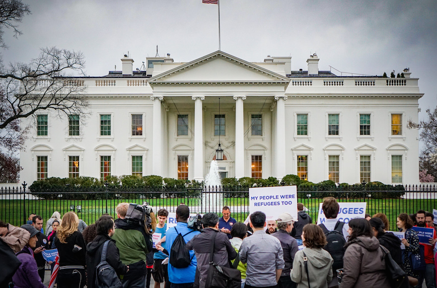 Activists gathering in front of the White House to share stories of their family members who were refugees or immigrants, March 1, 2017. (Ted Eytan/via JTA)