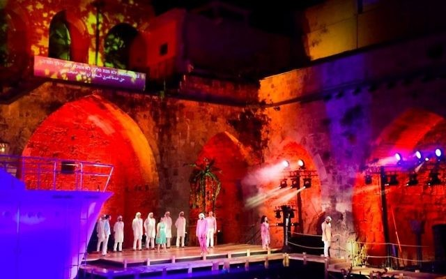 Staging the production of 'Julius Caesar in Egypt' at the annual Acre opera festival, held August 3-5, 2017 (Courtesy Acre Opera Festival)