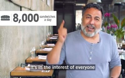 Israeli celebrity Chef Haim Cohen in a social media campaign for Nevet which provides nutritious breakfasts daily to disadvantaged students at 120 schools across Israel. (Screen Capture: YouTube)